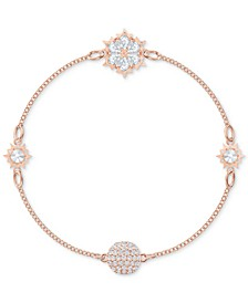 Remix Rose Gold-Tone Crystal Snowflake Magnetic Bracelet