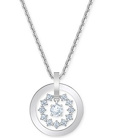 "Silver-Tone Crystal Circle Pendant Necklace, 14-7/8"" + 2"" extender"
