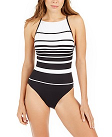 Gradient Stripe High-Neck One-Piece Swimsuit