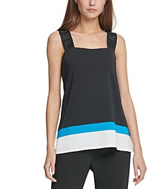 Logo-Strap Colorblocked Top