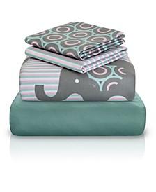Baby Elephant Print Double-Brushed Microfiber 4 Piece Full Sheet Set