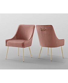 Christine Velvet Dining Chair with Metal Legs and Knob Set of 2