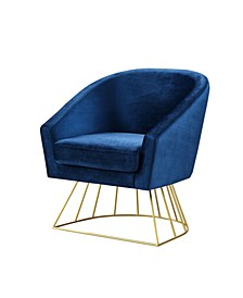 Adalene Velvet Accent Chair with Metal Base