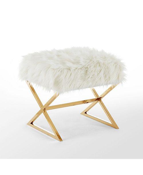 INSPIRED HOME Aurora Faux Fur Ottoman with Metal X-Leg Frame