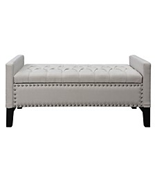 Columbus Button Tufted Storage Bench with Nailhead Trim