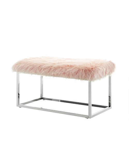 Surprising Monet Faux Fur Bench With Metal Frame Evergreenethics Interior Chair Design Evergreenethicsorg