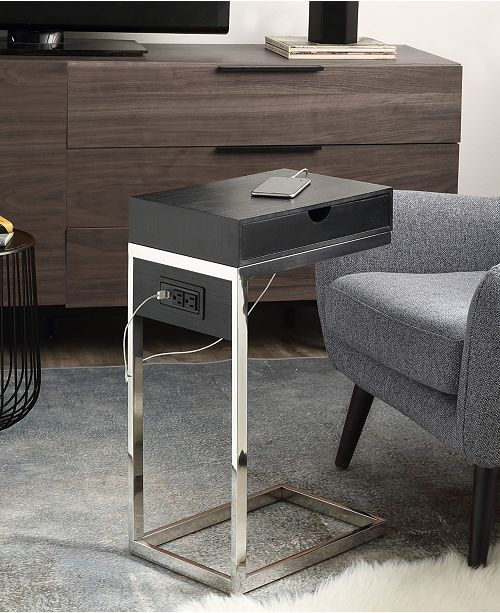 Loft Lyfe Adorna End C-Table with Drawer USB Charging Ports and Outlets