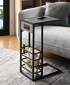 Loft Lyfe Alder End C-Table with USB Charging Ports and Outlets
