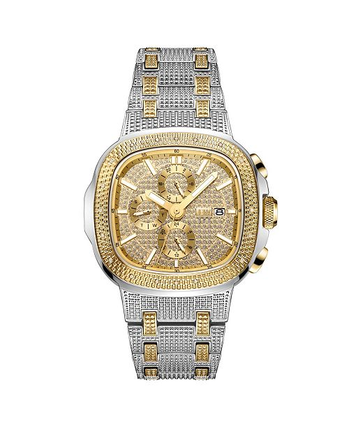 Jbw Men's Diamond (1/5 ct. t.w.) Watch in 18k Gold-Plated Two-tone Stainless-steel Watch 48mm