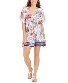 Captiva Paisley Flutter-Sleeve Cover-Up Dress