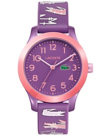 Kid's 12.12 Purple Logo Silicone Strap Watch 32mm