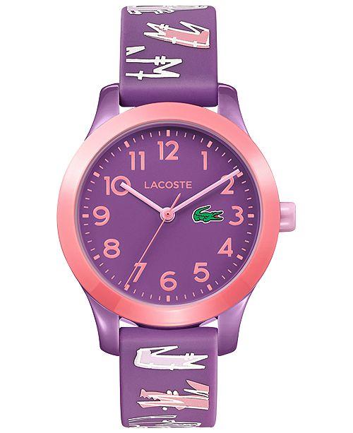 Lacoste Kid's 12.12 Purple Logo Silicone Strap Watch 32mm