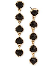 Gold-Tone Stone Linear Drop Earrings