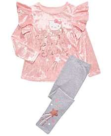 Little Girls 2-Pc. Reach For The Stars Velvet Top & Leggings Set