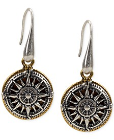 Two-Tone Compass Drop Earrings