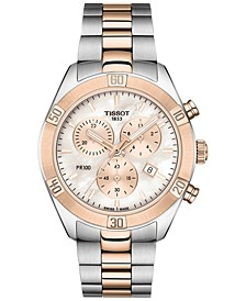 Women's Swiss Chronograph T-Classic PR 100 Two-Tone PVD Stainless Steel Bracelet Watch 38mm
