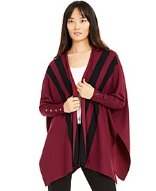 Striped Open-Front Poncho Cardigan, Created For Macy's