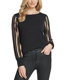 Printed-Sleeve Sweater