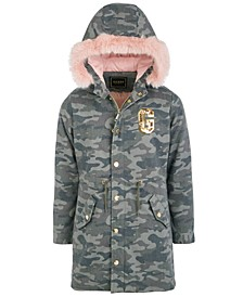 Big Girls Hooded Camouflage Faux Fur Lined Parka