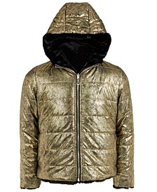 Big Girls Reversible Metallic Faux Fur Puffer Jacket