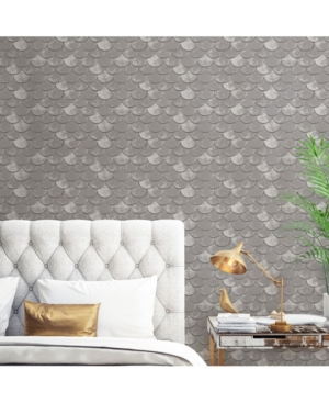Genevieve Gorder for Tempaper Pewter Brass Belly Self-Adhesive Wallpaper