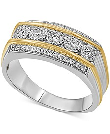 Men's Diamond Cluster Ring (1/2 ct. t.w.) in Sterling Silver and 14k Gold Over Sterling Silver