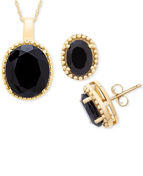 """Macy's Onyx 18"""" Pendant Necklace and Stud Earrings Set in 14k Gold"""