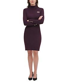 Turtleneck Crest Cable-Knit Sweater Dress