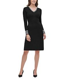 V-Neck Cable-Knit Sweater Dress