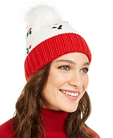 Holly Leaves Beanie with Faux Fur Pom, Created For Macy's