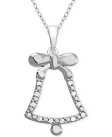 "Diamond Bell 18"" Pendant Necklace (1/10 ct. t.w.) in Sterling Silver"