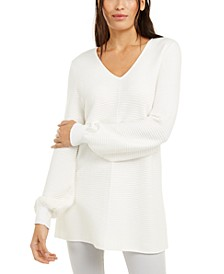 Petite Ribbed-Knit Tunic Sweater, Created For Macy's