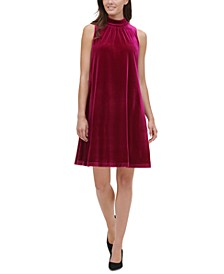 Mock-Neck Velvet Trapeze Dress