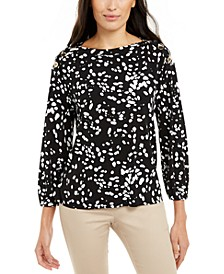 Printed Button-Shoulder Top, Created For Macy's
