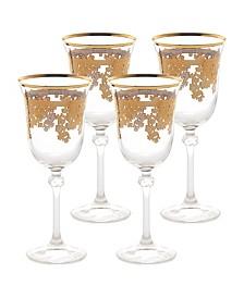 Embellished 24K Gold Crystal Red Wine Goblets - Set of 4