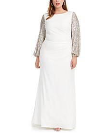 Plus Size Sequin-Sleeve Gown