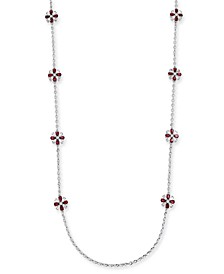 """42"""" Silver-Tone Stone Long Station Necklace, Created For Macy's"""