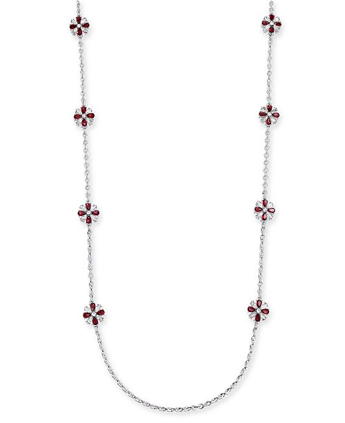 """Charter Club 42"""" Silver-Tone Stone Long Station Necklace, Created for Macy's"""