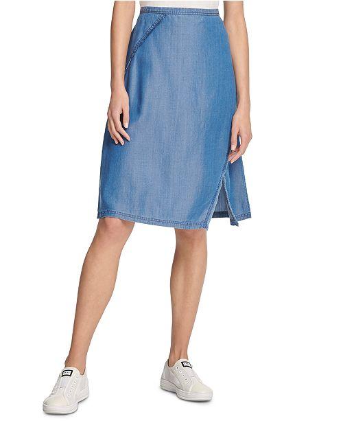 DKNY Asymmetrical Fringe Skirt