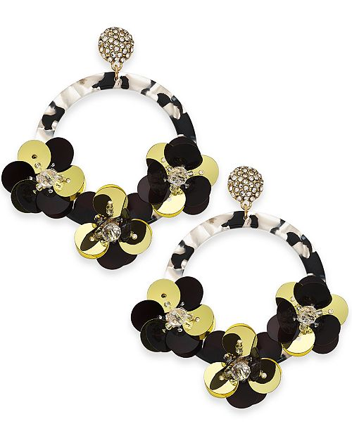 INC International Concepts INC Gold-Tone Crystal & Sequin Drop Hoop Earrings, Created For Macy's