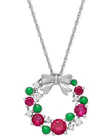 "Lab-Created Ruby (1-5/8 ct. t.w.) & White Sapphire (1/4 ct. t.w.) Wreath 18"" Pendant Necklace in Sterling Silver"