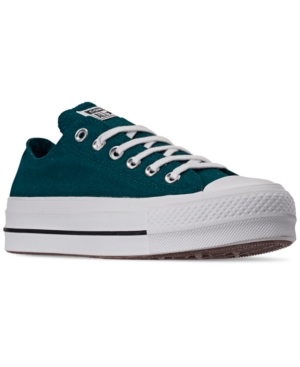 Converse Women's Chuck Taylor All Star Lift Low Top Casual Sneakers From Finish Line In Midnight Turq/White/Black