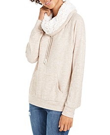Juniors' Sherpa Lined Funnel Neck Sweatshirt