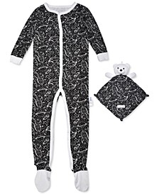 Baby Boys 2-Pc. Space-Print Footie Pajama & Bear Blankie Buddy Set, Created For Macy's