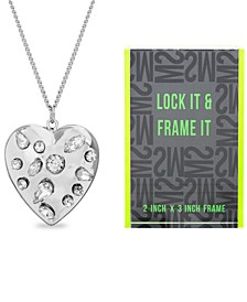 "Silver-Tone Heart Locket Pendant Necklace & Photo Frame Set, 24"" + 3"" extender"