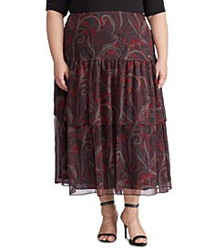 Plus Size Tiered Georgette Skirt
