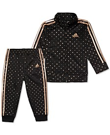 Little Girls 2-Pc. Dot-Print Jacket & Pants Tricot Track Set