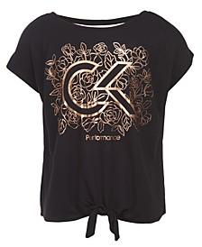 Big Girls Floral Logo-Print Tie-Front T-Shirt