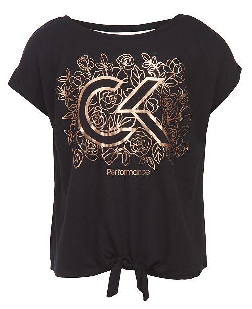 Calvin Klein Calvin Klein Big Girls Floral Logo-Print Tie-Front T-Shirt