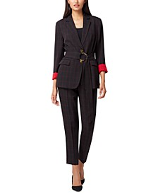 Petite Printed Belted Jacket & Windowpane-Plaid Pants